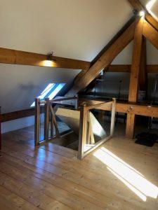 trappe motorisée et garde corps d'escalier